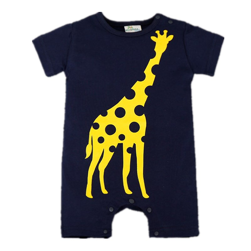 Summer Animal Baby Rompers Giraffe Short Sleeve Clothes Baby Boys One Pieces Jumpsuits Roupas De Bebe Infantil Baby Clothing mother nest 3sets lot wholesale autumn toddle girl long sleeve baby clothing one piece boys baby pajamas infant clothes rompers