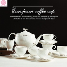 Coffeeware Set Plain 15pcs White Tea Set  Coffee Cups Afternoon Tea High-grade gold-Penh Luxury Bone China Tea Set