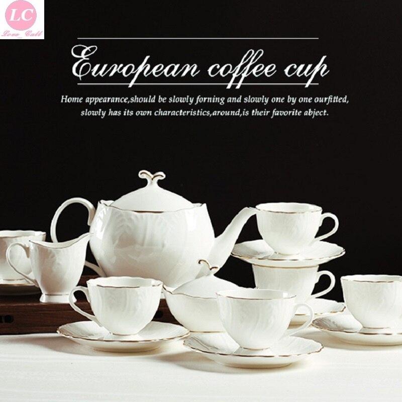 Ensemble de Coffeeware plaine 15 pièces ensemble de thé blanc tasses à café thé de l'après-midi de haute qualité or-Penh ensemble de thé de chine os de luxe
