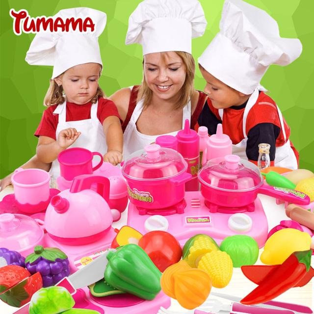 Tumama culinária clássica toys para crianças 46 pcs conjunto de corte de alimentos crianças pretend play kitchen toys
