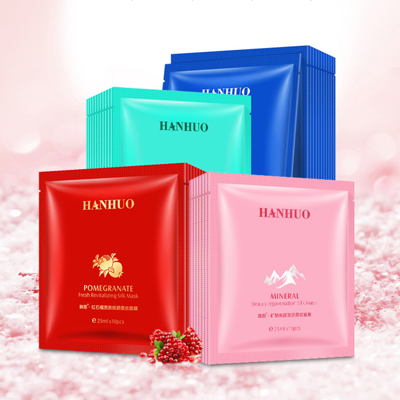 HanHuo Pomegranate Mineral Fresh Revitalizing Deepsea Moisturizing Refining Silk Mask For Face Facial Mask Plant