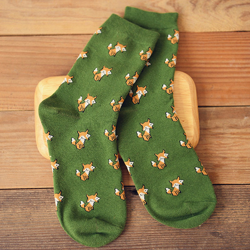 b9fe80589 Brand Funny Men's Women's Fox Animal Long Socks Korean Kawaii Women Couple  Cartoon Cotton Art Crew Socks -in Socks from Underwear & Sleepwears on ...