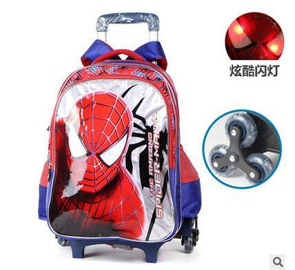 Kids Rolling Bag Spider man Boy's trolley Backpack For School Children's Travel Luggage Wheeled Bag Student Backpack With wheels
