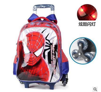 7edb1dea9c Kids Rolling Bag Spider man Boy s trolley Backpack For School Children s  Travel Luggage Wheeled Bag Student