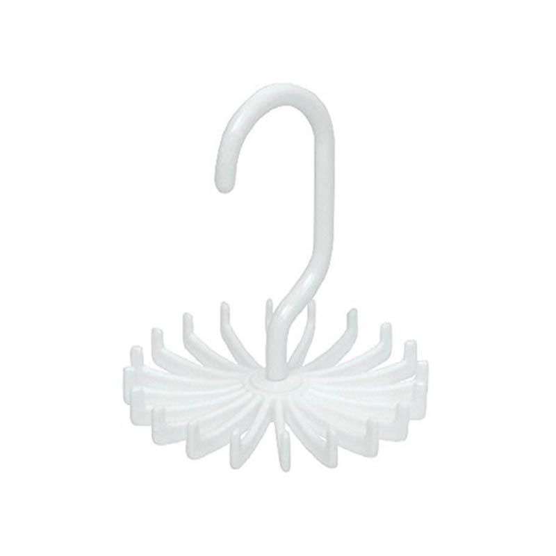 Держатель для галстука на шею, компактный многофункциональный 1 шт. пластиковый 20 крючков, вращающийся на 360 градусов ремень, вешалка для галстука на шею - Цвет: Белый