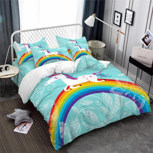 Colorful Rainbow Unicorn Bedding Set