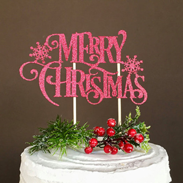 Creative Christmas Cake Flag Merry Christmas With Snow Cake Topper For Xmas Home Party Cake Baking Decor