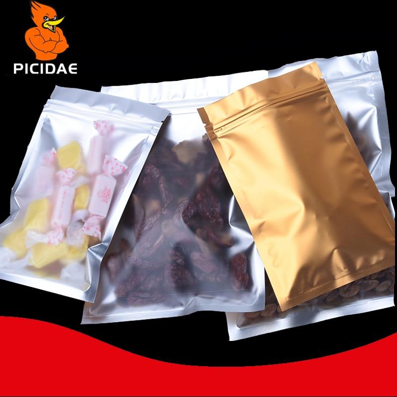 Matagal transparente de alimentos Lanche porca acessórios doces cosméticos Mate Escuro Zíper ziplock saco de Embalagem de alumínio folha de ouro plana bon