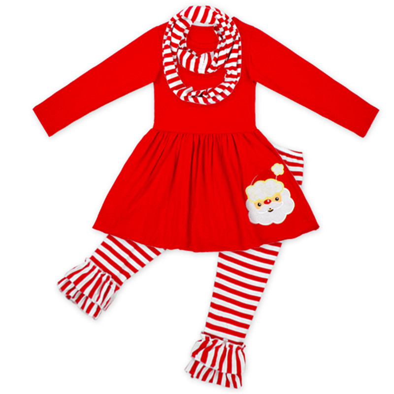 Christmas Baby Girls Clothes Long Sleeve Autumn Winter Girls Boutique Clothing Santa Claus Top Ruffle Striped Pant Children Set стоимость