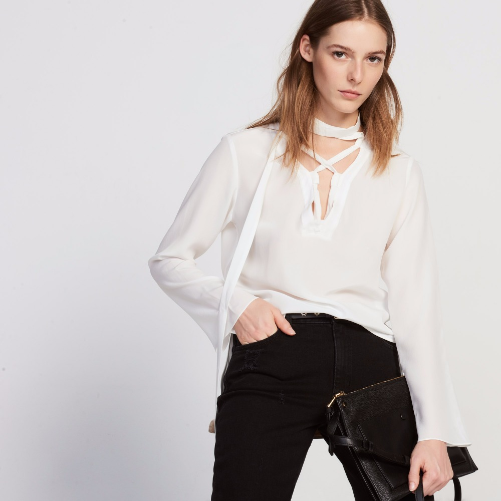 Front Lace-up Black White Office Blouse