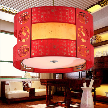 Chinese style Wooden Male imitation classical Chinese Pendant Lights hallway round pendant lamp ZS30