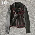 Черный натуральная кожа куртки 100% овчины мотоциклетная куртка пальто весте ан cuir femme LT1109 jaqueta де couro бесплатная доставка