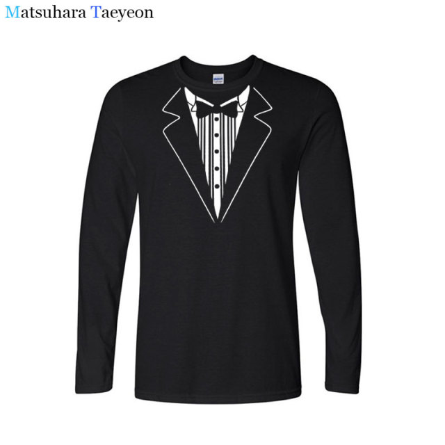 2a408e27c Custom Boutique Cotton Tshirt Long sleeved Men T Shirts Tuxedo Tees Retro  Tie Bow Tie Funny Print Casual clothing T-shirt