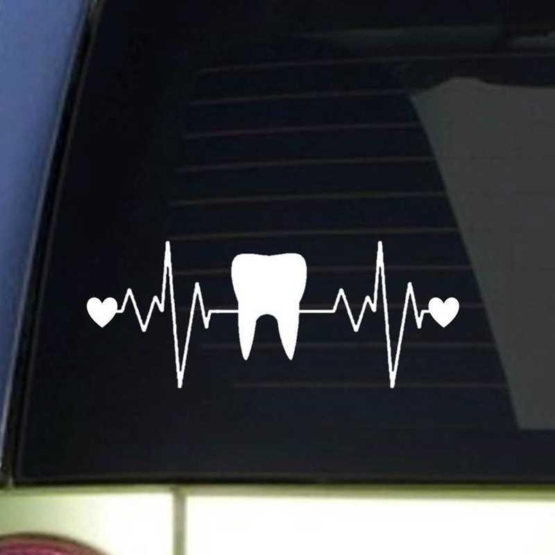 Pegatina Tooth Teeth Sticker Dentist Heart Decal Hollow Sticker Car Window Vinyl Dental Clinic Funny Poster
