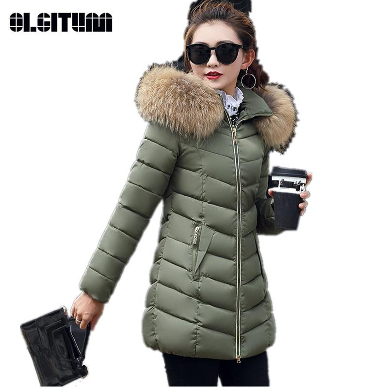 Winter Women's Jacket Coat  Slim Long Warmer Parkas for Female Big Fur Collar Cotton Women's Parka's Large Size Coat CC330