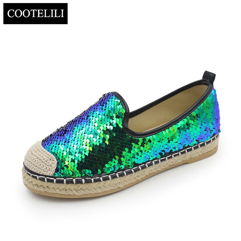 COOTELILI Autumn Women Flats Shoes Woman Casual Loafers Slip-On Round Toe Glitter Oxfords BLACK BLUE 35-39 xiaying smile woman flats women brogue shoes loafers spring summer casual slip on round toe rubber new black white women shoes