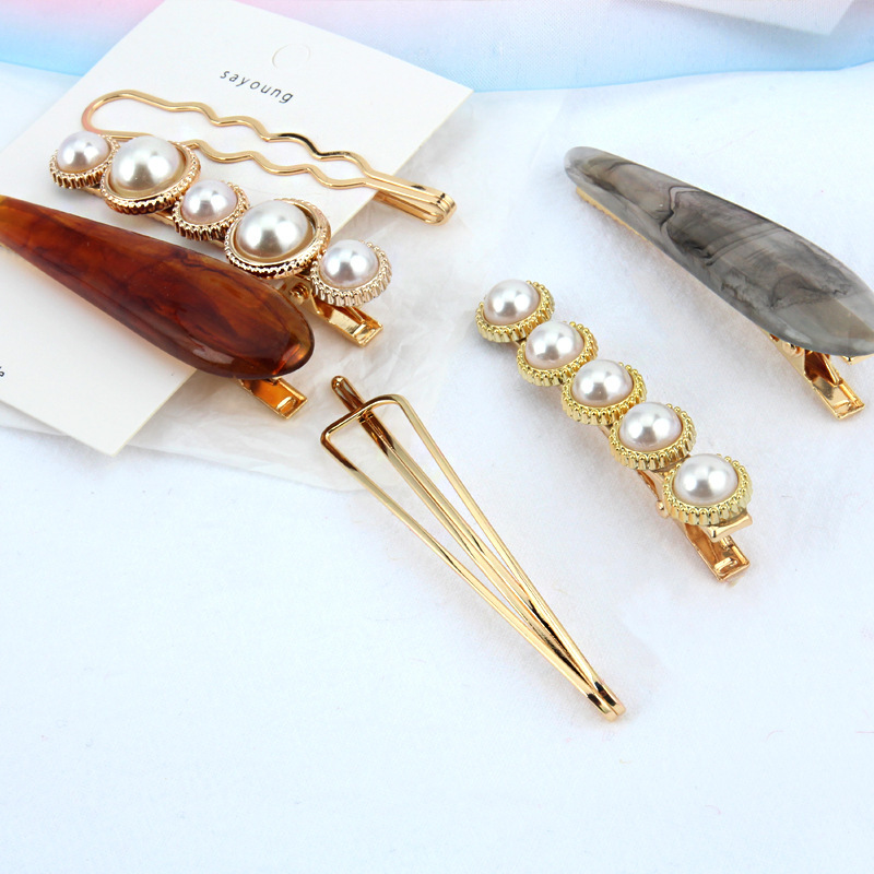 JZJR 2019 New Fashion Pearl Hair Clips 3pcs/Set Snap Barrette Stick Hairpin Styling Accessories For Women Dropshipping