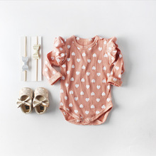 Everweekend Cute Newborn Girls Heart Print Long Sleeve