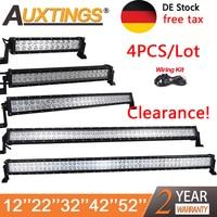 Auxtings Wholesale 4PCS Dual Row 12V Straight Led Work Light Bar 12 20 32 42 52 Inch Offroad Car Led Light Bar Combo 4x4 SUV ATV