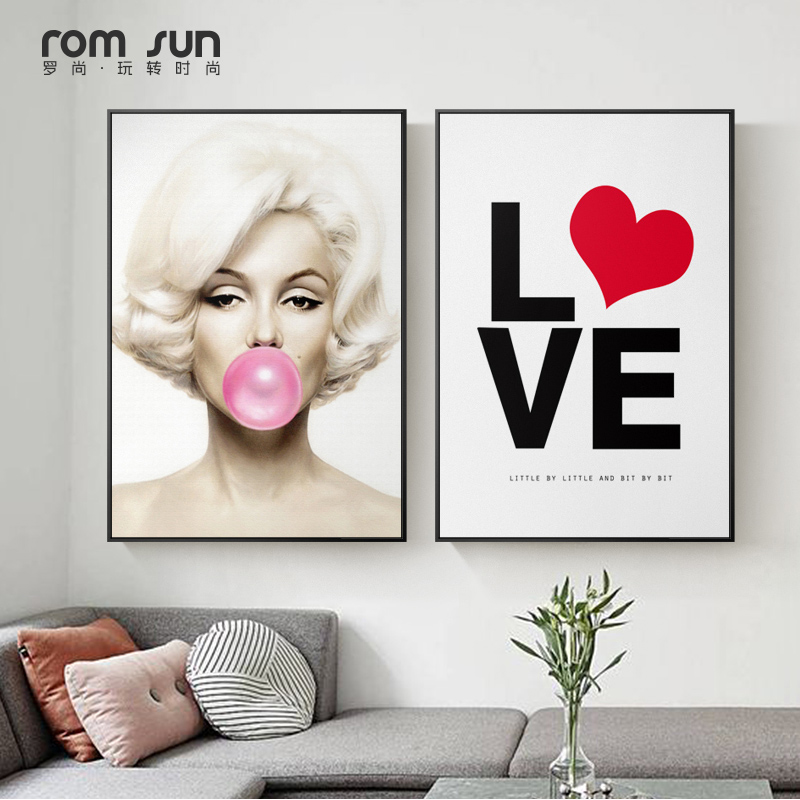 Marilyn Monroe Hepburn Blowing Bubble Canvas Painting Famous Figure Poster and Print for Living Room Home Decor Actress Wall Art image