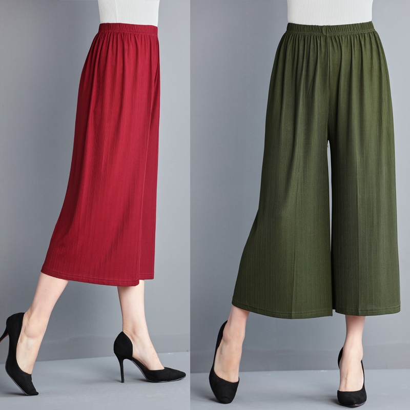 2019 Solid Summer lady wide leg   pants   women Summer beach high waist trousers Chic streetwear sash casual   pants     capris   female