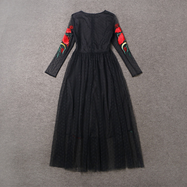 Long Sleeve Sexy Mesh Carnation Embroidery Slim Black Long Dress 4