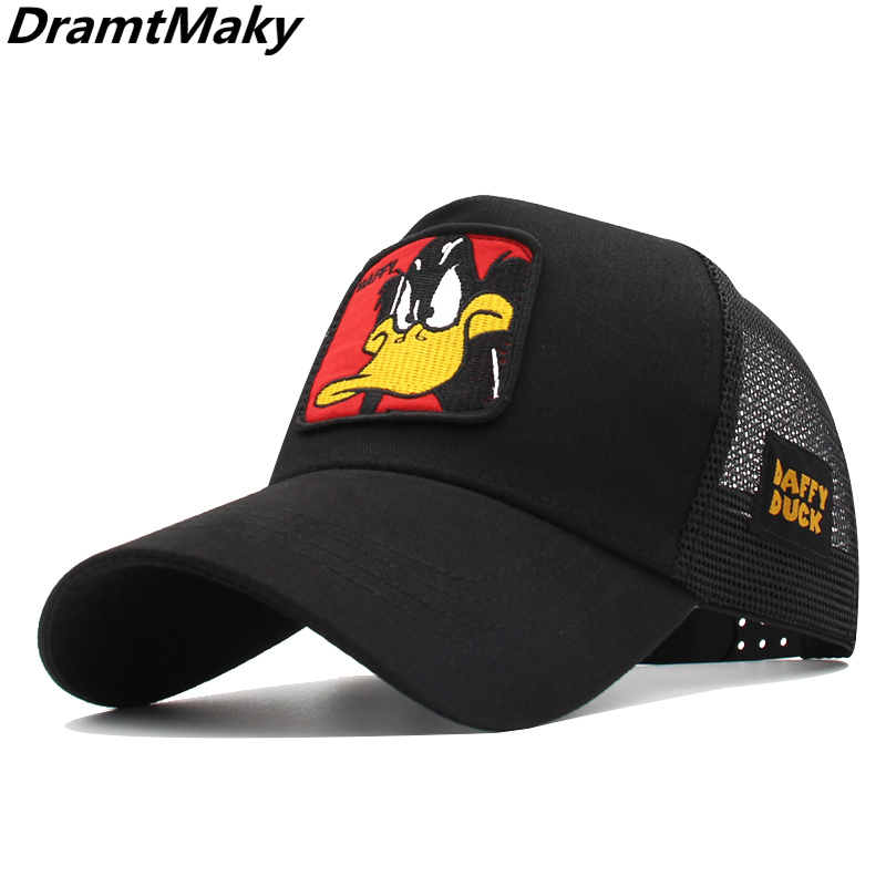 New Animals Donald Duck Embroidery Men's Baseball Cap Women Snapback Hip Hop Cap Summer Mesh Hat Trucker Cap Bone Gorra Dad Hat