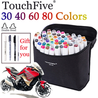 30 40 60 80 Colors Touchfive Sketch Marker Set Double Head Alcohol Based Markers White Pen