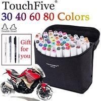 30 40 60 80 Colors Touchfive Sketch Marker Set Double Head Alcohol Based Markers White Pen