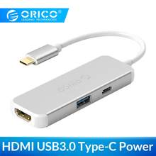 ORICO 3 w 1 USB-C HUB type-c na HDMI przejściówka do ładowarki 4K HD USB3.0 Splitter konwerter do macbooka Samsung Galaxy Huawei Mate P20(China)