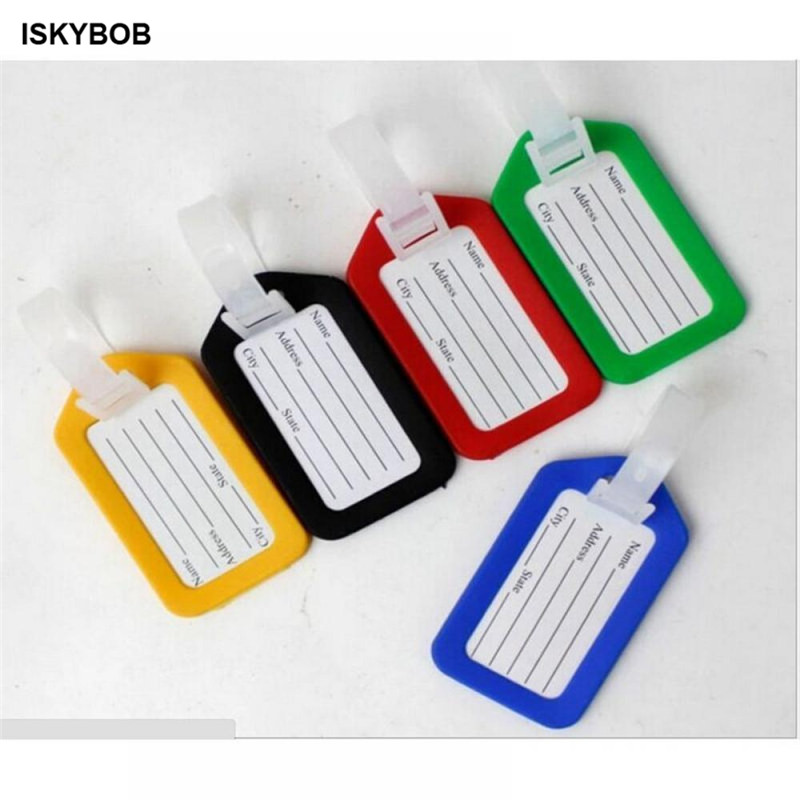 1pc Random Plastic Luggage Tag Holder  Labels Strap Name Address ID Suitcase Bag Baggage Travel Luggage Label