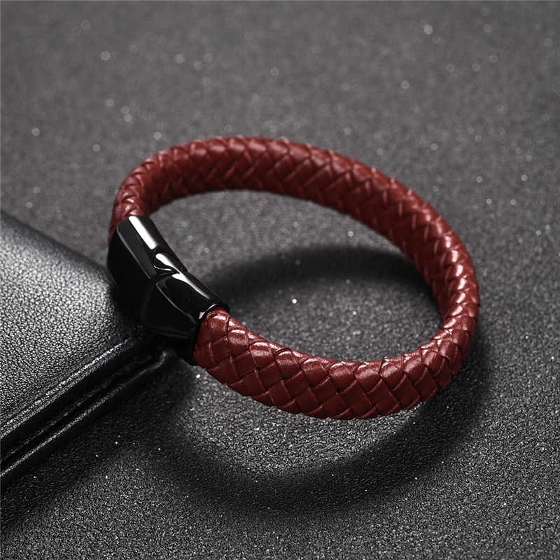 Jiayiqi Red Genuine Leather Braided Bracelet Jewelry Black/Silver Stainless Steel Magnetic Buckle Bracelets Male Wrist Band