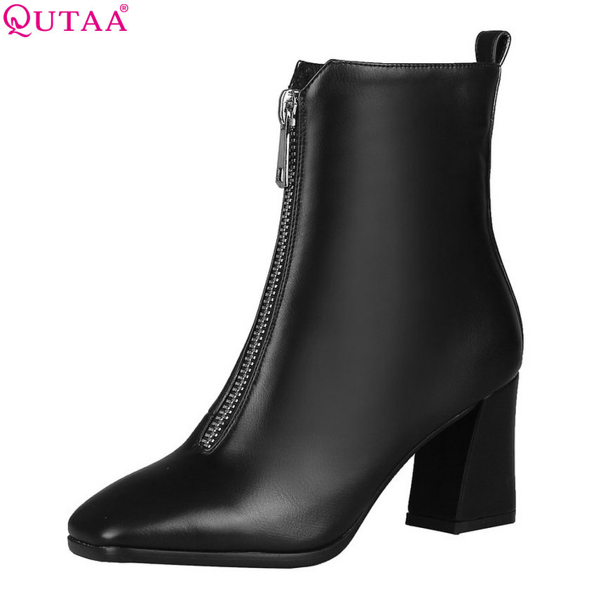 QUTAA 2020 Women Ankle Boots Square High Heel Winter Boots Fashion Women Shoes Pu Leather Zipper