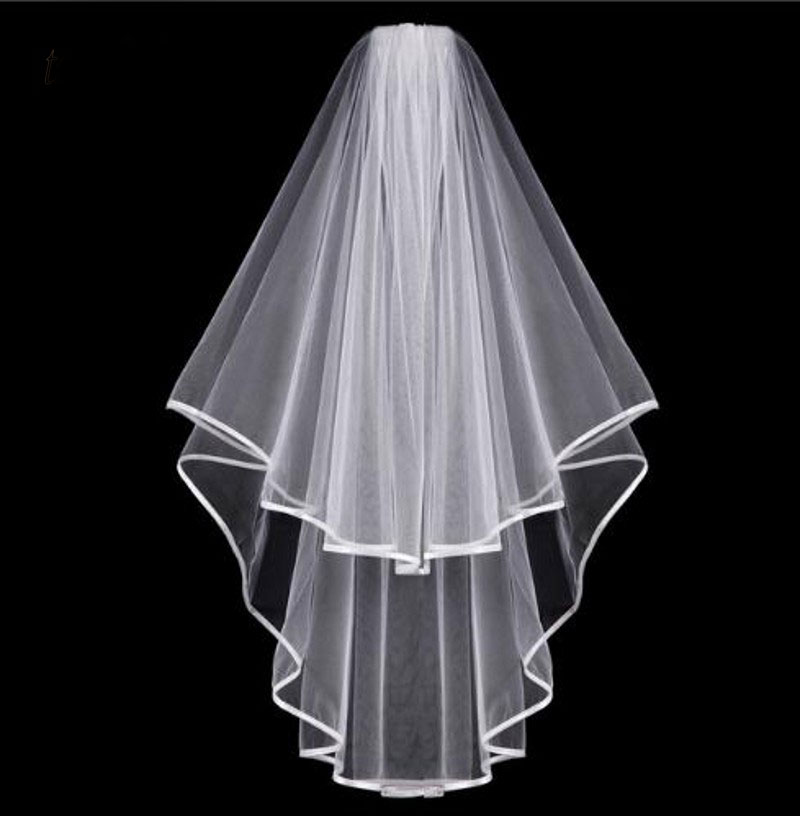 Simple Tulle White Ivory Two Layers Wedding Veils Ribbon Edge Comb Cheap Wedding Accessories Short Bridal Veil