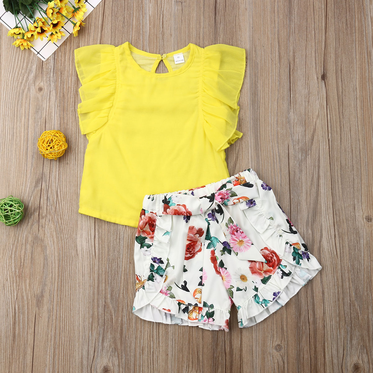 Pudcoco Summer Toddler Baby Girl Clothes Solid Color Sleeveless Ruffle Tops Flower Print Short Pants 2Pcs Outfits Casual Clothes