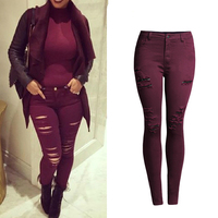 High Waist Red Wine Color Ripped Jeans Women 2016 Fashion Slim Skinny Jean Femme Scratched Push