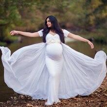 Maternità Fotografia Puntelli Vestito con Mantello Elastico Del Bambino Doccia Vestito Lungo Gravidanza Vestito Maternità Vestito Per Il Servizio Fotografico Wq14