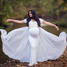Maternity Photography Props Dress with Cape Stretchy Baby Shower Long Dress Pregnancy Dress Maternity Dress For Photo Shoot