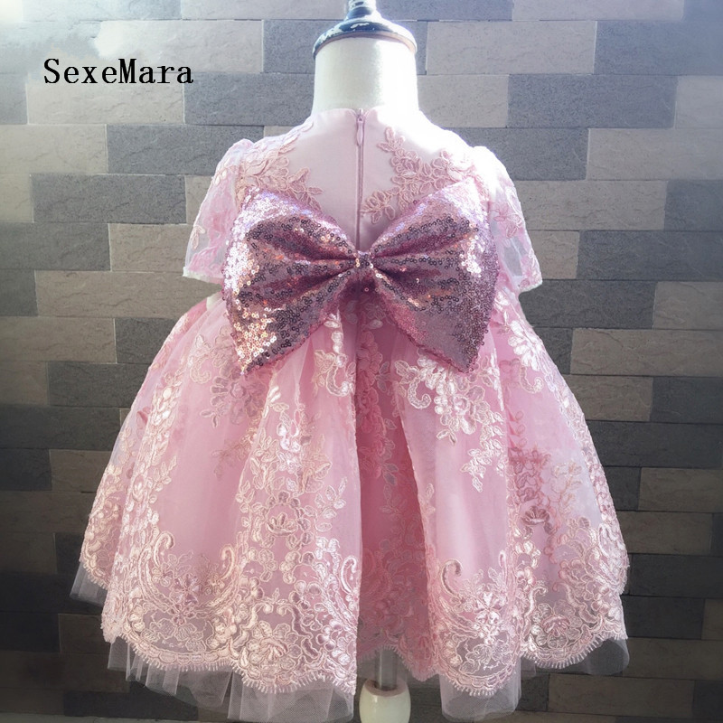Lovely Pink Flower Girl Dress with Sequin Bow Short Sleeves Princess Little Girl Birthday Gowns sequin sparkly short tight club dress