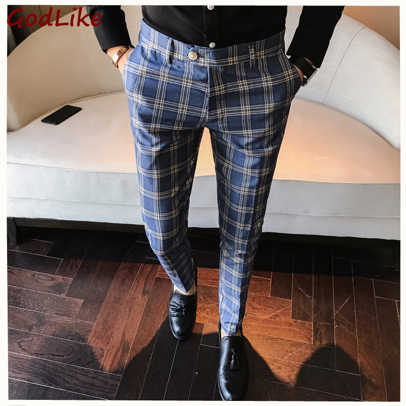 Suit Pant Trousers Dress Plaid Straight Casual Mens Fashion Slim-Fit Wedding High-Quality