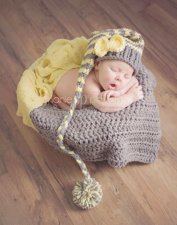 Newborn crochet hats photography newborn props Handmade baby knitted gray yellow striped winter beanies long tail pom pom hat