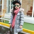 80% de pato branco para baixo casaco 2016 Novas Crianças inverno outwear ocasional ao ar livre meninas/meninos inverno longo cor lisa pura para baixo casaco