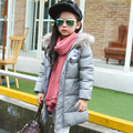 80% white duck down coat 2016 New winter Children casual outwear outdoor girls/boys winter long plain pure color down jacket
