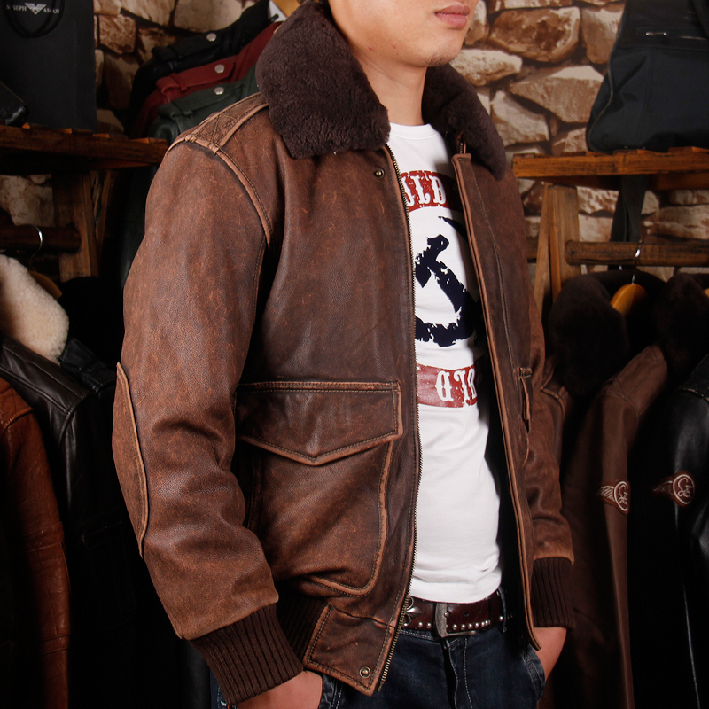 2019 Vintage Brown Men A2 Pilot Leather Jacket Wool Collar Size XXL Genuine Thick Cowhide Russian Aviator Coat FREE SHIPPING