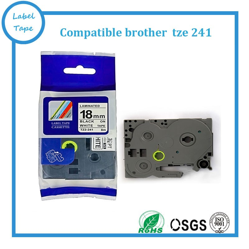 Free shipping 40pcs Brother ptouch TZ 241 Compatible TZe 241 18mm brother tz label tape tze241