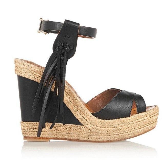 7a5cc6eb8713 2017 Peep Toe Sandalias Mujer Buckle Fringe Wedges Zapatos Mujer Black  Tassels Platform Wedge Sandals Women Summer Shoes
