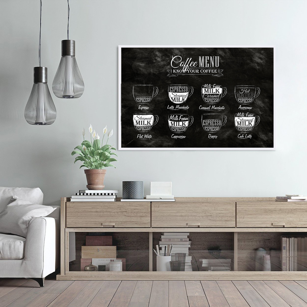 Black And White Coffee Menu Poster Vintage Art Print Nordic Bar Pub Coffee Shop Signs Decoration Pictures Home Salon Decorative Leather Bag