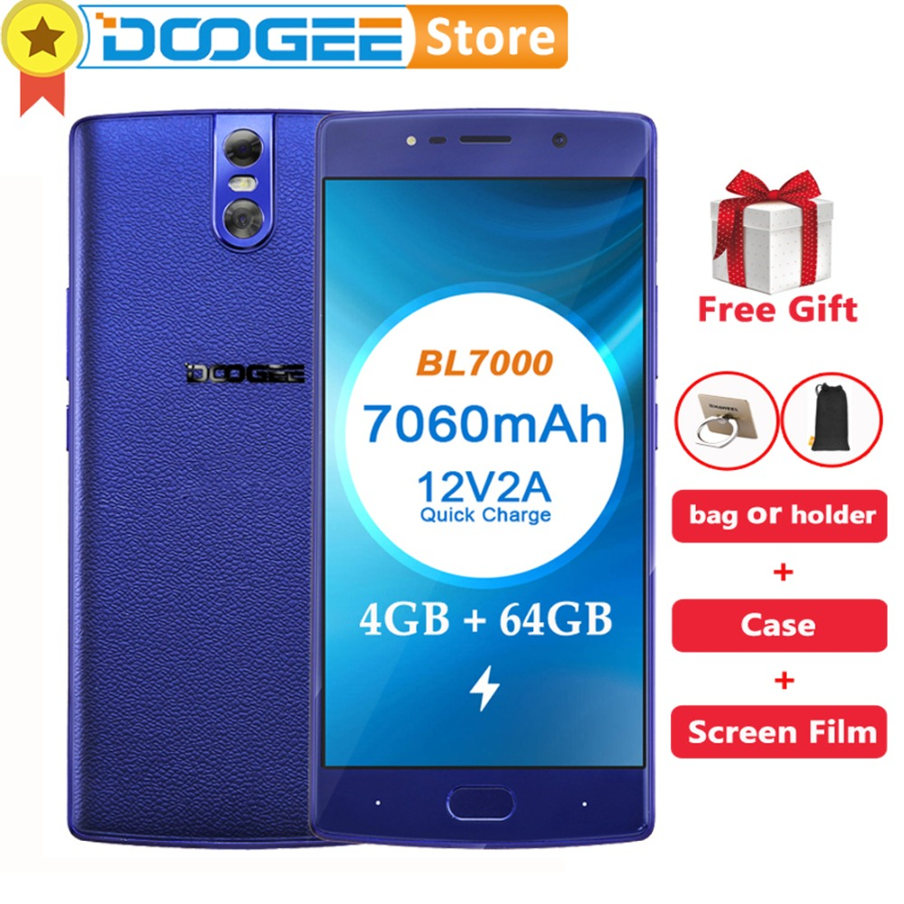 "DOOGEE BL7000 4GB RAM 64GB ROM Android 7.0 MTK6750T Octa-Core 1.5GHz 5.5"" FHD Smartphone 3 Cameras 13.0MP+13.0MP 7060mAh 12V 2A"