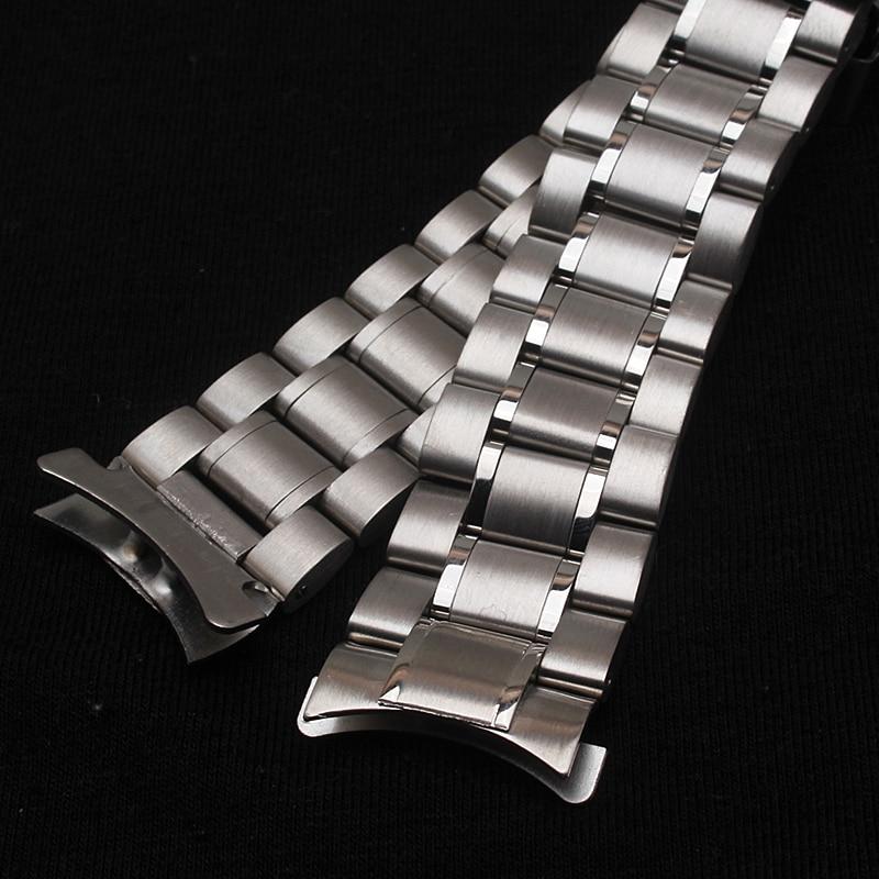 Neue Heiße Verkauf Mann Frau Silber Solide Edelstahl Metall Curved - Uhrenzubehör - Foto 5