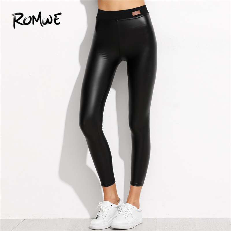 ROMWE Black Plain Faux Leather PU Ankle   Leggings   Autumn Women Casual Pants Female Spring Elegant 2019 New Style Crop   Leggings